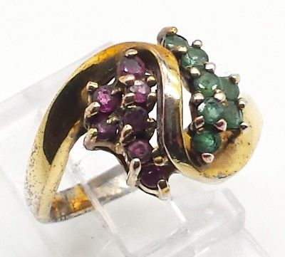 Fine Gold Red Green Gems Design Sterling Silver 925 Ring 4g Sz.8 Y2183