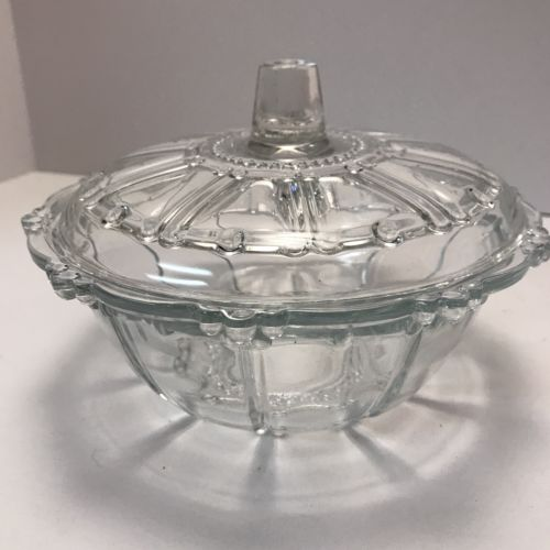 clear glass candy dish with lid