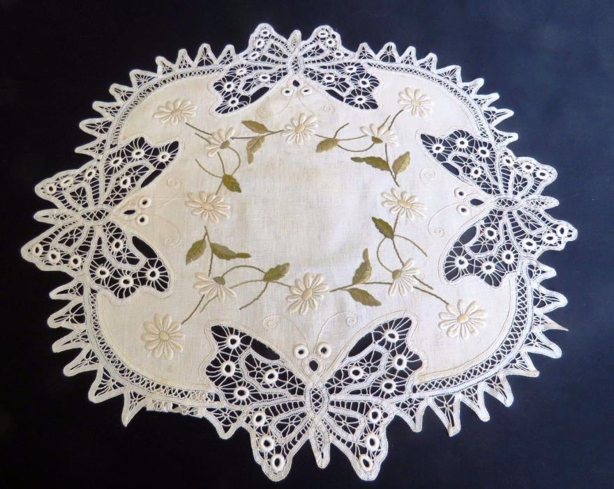 Embroidered Table Cover Butterfly Antique Centerpiece Topper Arts and Crafts