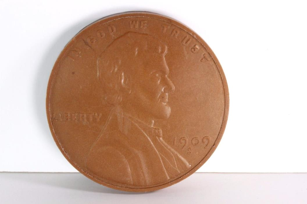 1909 S VDB Plastic Novelty Wheat Penny Coin 5 Inch
