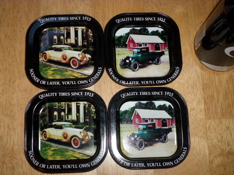 GENERAL TIRE COMPANY - ADVERTISING SQUARE METAL COASTERS,  (#4) TOTAL, VINTAGE