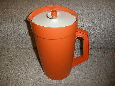 Vintage 1970's Shocking Atomic Orange Large 2 - Qt. Pitcher w/Push Button Lid