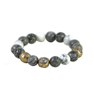 Tat2 Designs 24K Gold Cera Faceted Crazy Lace Howlite Bead Stretch Bracelet New