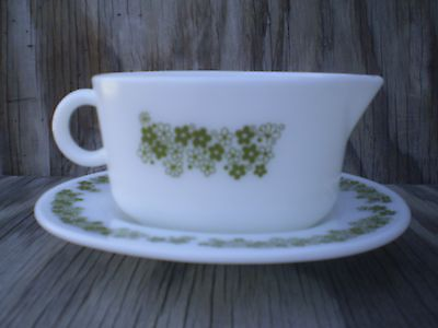 Pyrex Corelle Spring Blossom Milk Glass Gravy Boat W/ Underplate Green Flowers