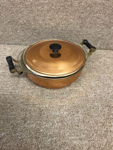 Pyrex 023 Glass Dish 1-1/2 qt Copper & Brass Covered Casserole EUC