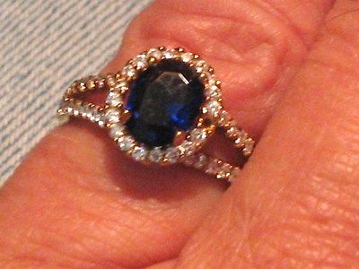 Sterling silver 14K yellow gold plated Oval Sapphire Topaz Cocktail Ring S7.25