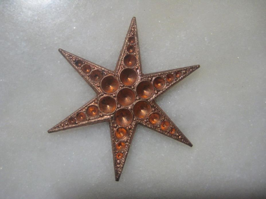 Star, 6 Point Celestial Sky Light, Stone or Pearl Settings, Die Struck Raw Brass