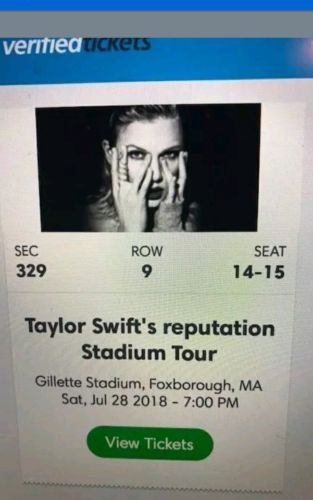 Two Taylor Swift Tickets Saturday July 28th, 2018 Section 329 Row 9