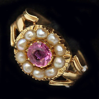 Antique Victorian Ring Pink Topaz Pearls 18k Gold English Signed (#6282)