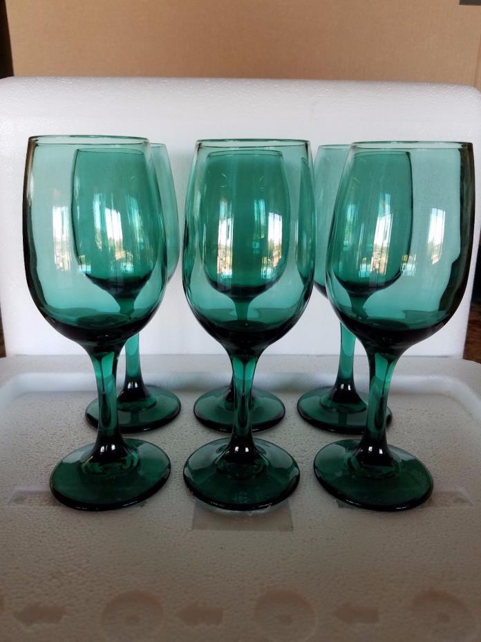 Set of 6 Vintage Libbey Juniper Teal Green 8 oz Wine Glasses 7-1/4