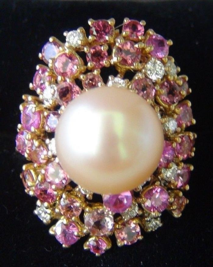 South Sea natural pearl - rare Rose color with multi gemstones  - 18KRG -