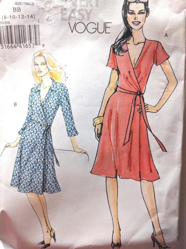 Vogue  Wrap  Dress  Sewing Pattern Sz  8-14