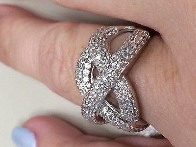 Elegant  Victoria Wieck Sapphire  10kt gold filled criss cross ring size 8