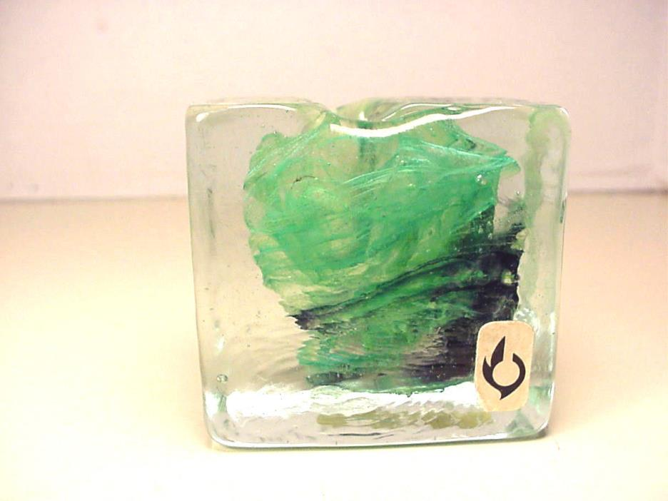 Isle of Wight Paperweight England Art Glass Pen or Candle Holder Vintage
