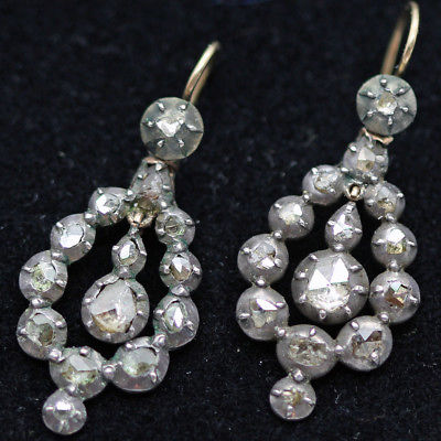 Antique Georgian Earrings Rose Cut Diamond Pendeloque Earrings French  (#4133)