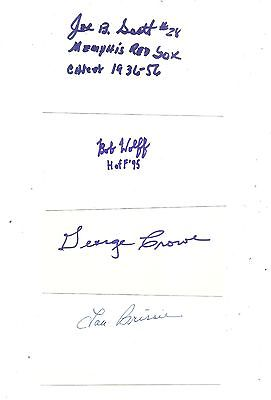 mead INDEX CARD-3X5-BASEBALL-auto-SIGNED joe B scott MEMPHIS red sox CRAWFORDS+