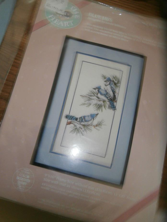 Vintage New Dimensions Counted Cross Stitch Kit Blue Jays Picture