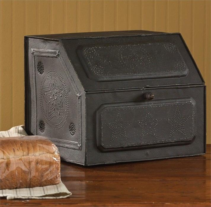 Park Designs Primitive, Country Black Punched Star Metal Bread Box