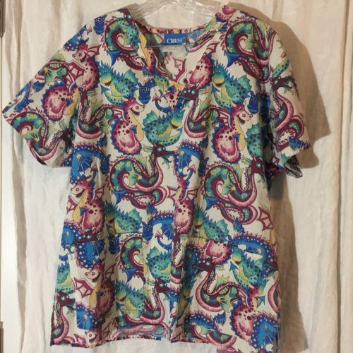 Crest Women's Scrubs Top Large Dragon Print Multi-color Poly/Cotton Blend