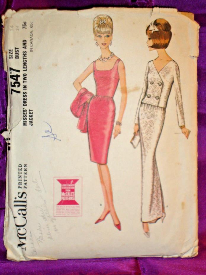 60s Slim Cocktail or Evening Dress n Wst Length Jacket CMPLT McCalls 7547 B 34