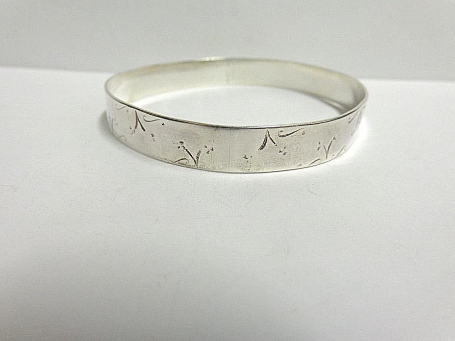 vintage sterling silver bangle bracelet hd mde wgt 17.3 grams 8.50 in lg