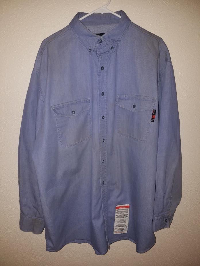 WALLS FR FLAME RESISTANT  MEN'S BLUE CHAMBRAY WORK SHIRT SIZE XL Used