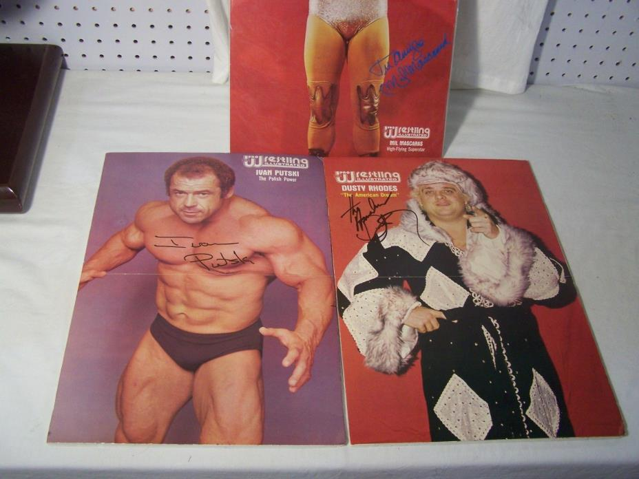 Lot of  4 PWI Signed Mounted Posters Dusty Rhodes  Backlund  Mascaras  Putski