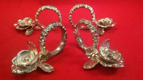 Vintage Set of 4 Ornate Rose Metal  Napkin Rings