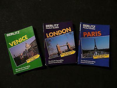 3 Vintage (1994-95) Berlitz Pocket Guides To Venice, London & Paris