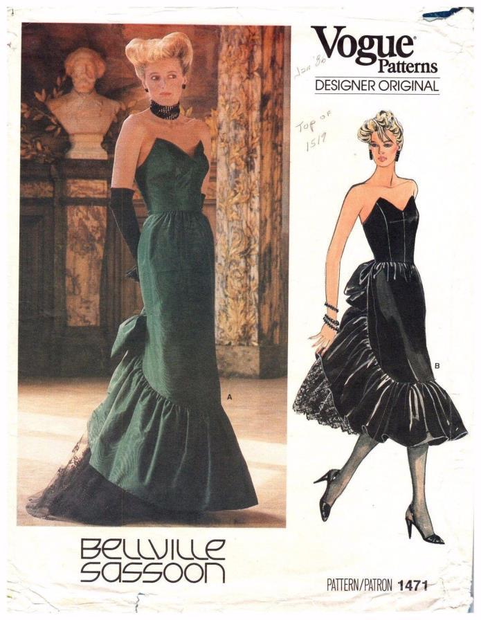 VTG Pattern Vogue 1471 Designer Original Evening Dress Bellville Sassoon 14/36