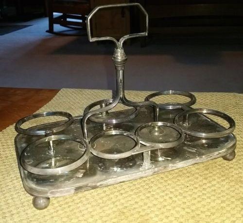antique vintage silverplate castor for 7 bottles or jars