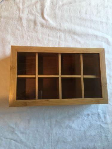 Bamboo Tea Display Storage Chest Box Organizer Bag Holder Window Case Oceanstar