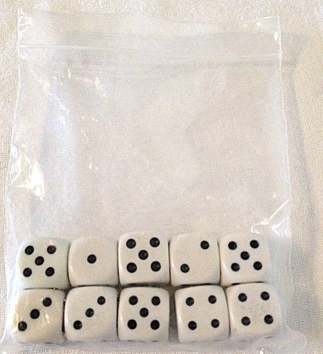 10 White Opaque Dice Set 16mm 6-Sided RPG Magic D&D Unique with Black Pips Rolls