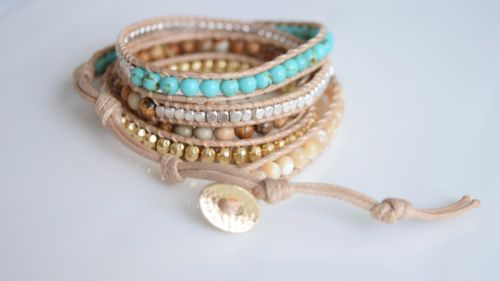 Sand + Sea Wrap Bracelet Handmade New Turquoise Brown Tan Gold Thailand Thai