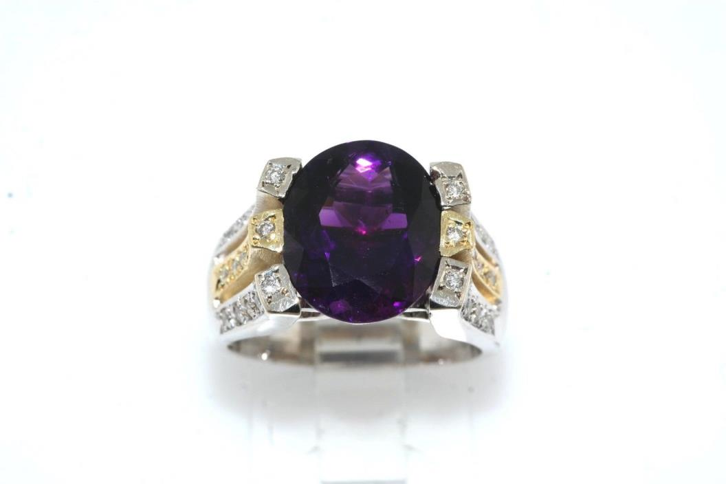 Designer Diamond & 4.50 carat Amethyst 18k Yellow White Gold Ring