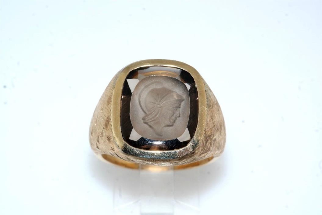 Gents Cameo Frosted 14k Yellow Gold Ring Vintage sz 10