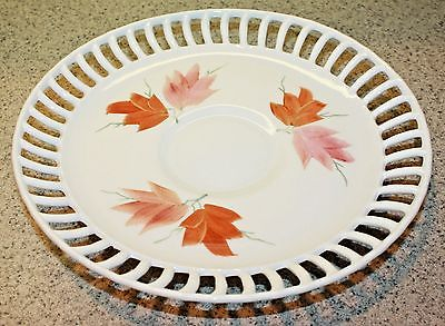Vintage White Porcelain Cake Stand Pedestal Hand-Painted Reticulated Edge