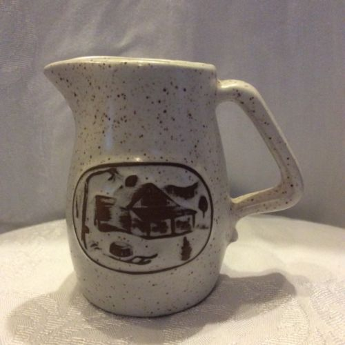 Onion River Pottery Creamer Off White Speckled Syrup 4 1/2