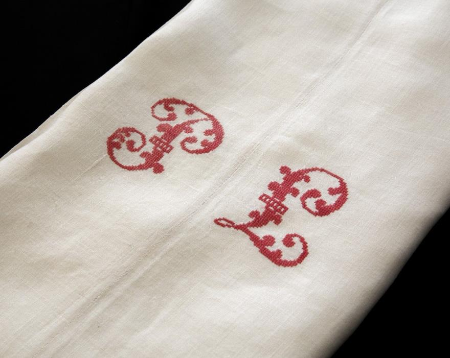 Antique French Linen Metis Sheet  PL Red Monogram Cross Stitch 82