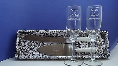 wedding champagne flutes & cake server set heart handles personalized Fl