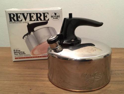 REVERE WARE Stainless Steel Copper Bottom Whistling 6 Cup Tea Kettle Teapot Pot