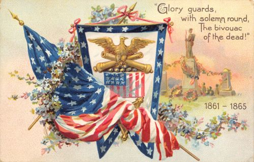TUCK Patriotic~Decoration Day~Glory Guards the Civil War Dead~Cemetery~Emboss
