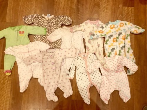 Lot Of 9 Infant Baby Girl Footed Sleepers Size Newborn Carter's Small Wonders NB