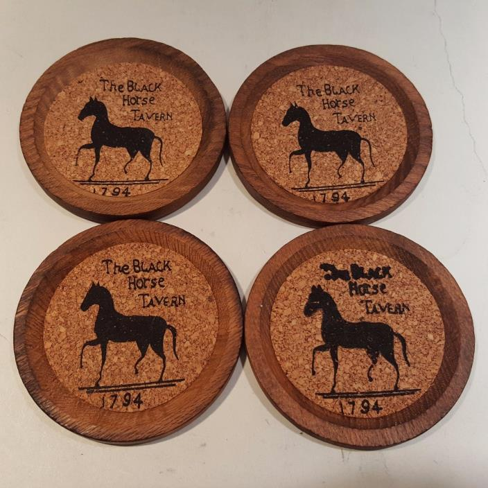 Set Or 4 Vintage Coasters The Black Horse Tavern 1794 Bar Ware Round Wood Cork