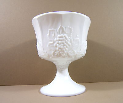 White Milk Glass Pedestal Compote Fruit Bowl Vase Grapes and Leaves Candy Dish