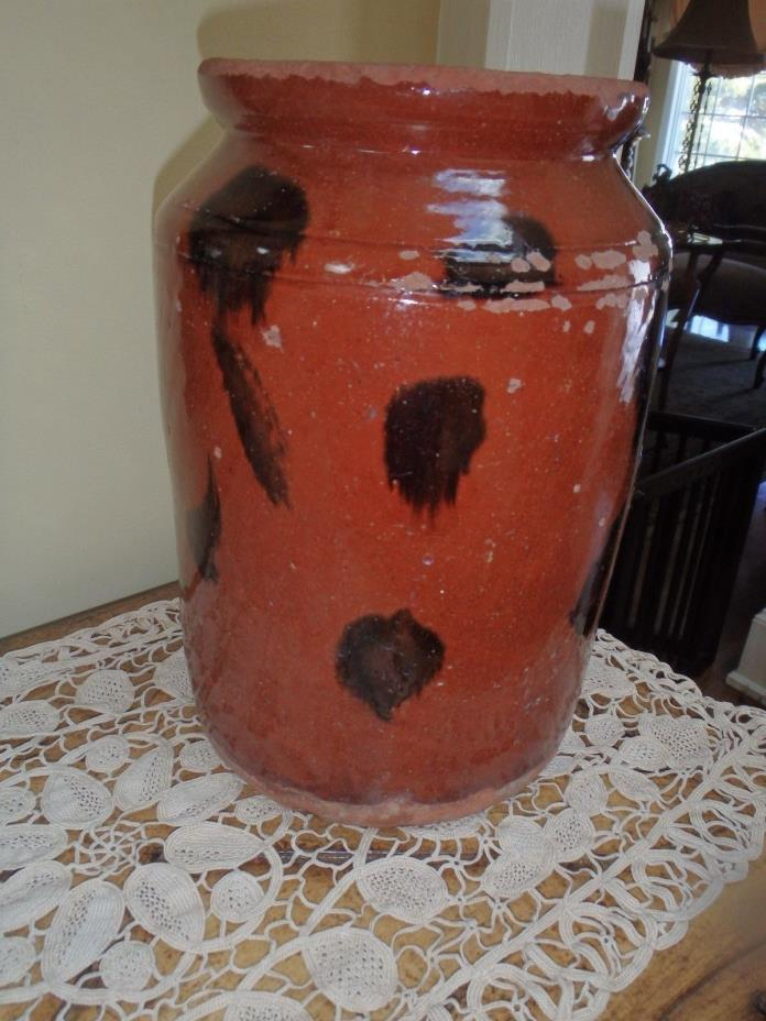 Antique 19C Primitive Redware Manganese Stoneware Crock