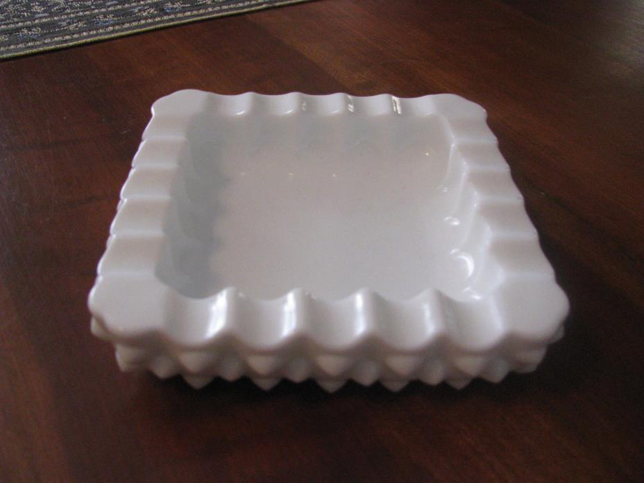 Vintage Milk Glass Hob Nail Pattern Square Ashtray