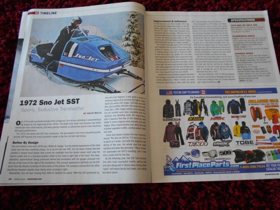 SNOW GOER SNOWMOBILE MAGAZINE Vintage 1972 Sno-Jet SST 2014 Ski-Doo MXZ 600 Carb