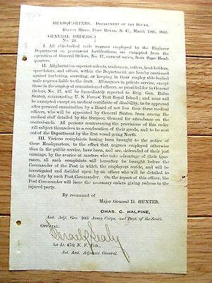 HILTON HEAD SOUTH CAROLINA CIVIL WAR NEGRO GENERAL ORDER 1863