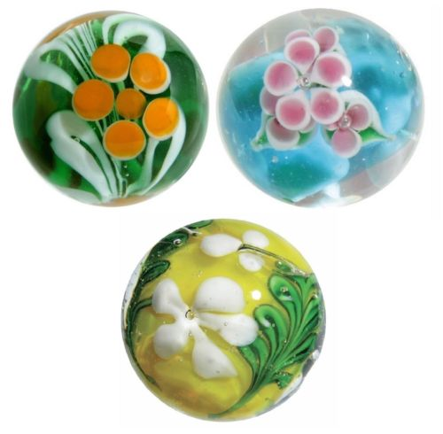 22mm Handmade Art Glass Flower Marbles w/Stands, Set of 3 - Paeony, Wisteria, &